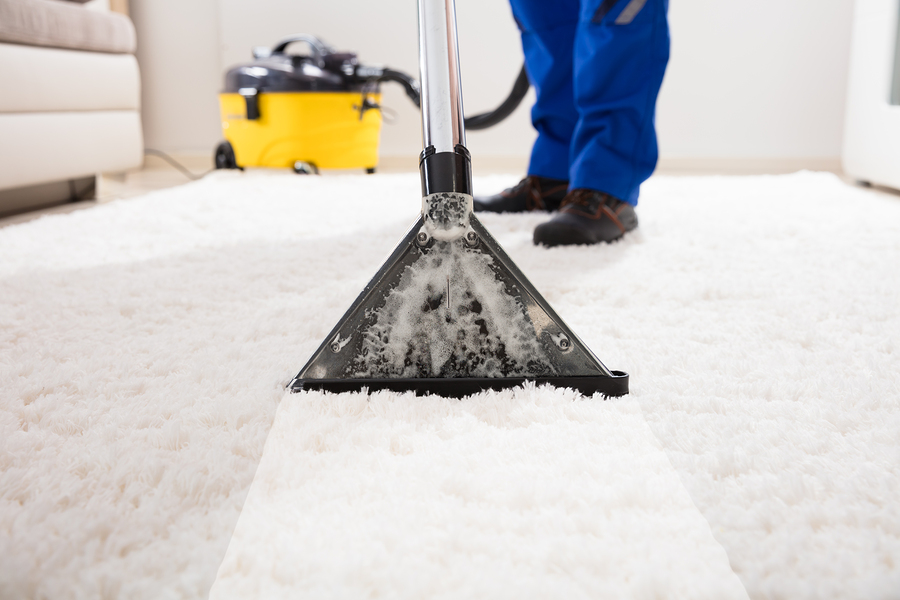 close-up of a janitor cleaning carpet with vacuum cleaner at home