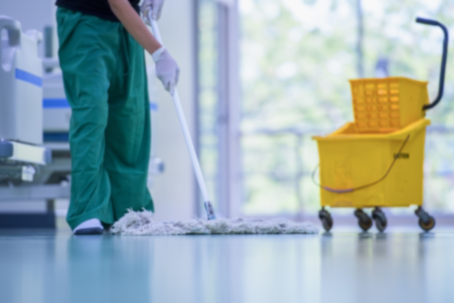 blurred hospital images, clean and sanitize, cleaner, hospital cleaning,cleaning the hospital floor. floor care and cleaning services with washing mop in sterile factory or clean hospital.